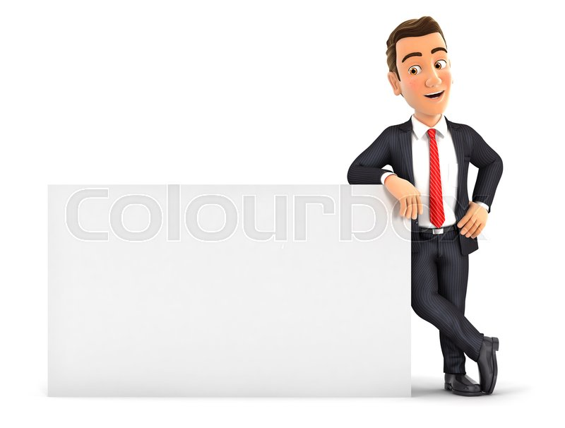 Stock image of '3d businessman leaning against white wall, illustration with isolated white background'