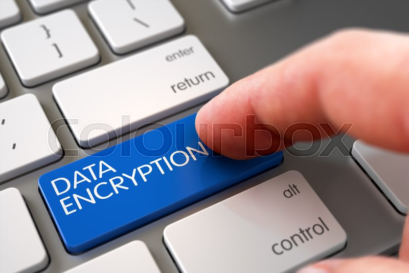 Stock image of 'Modernized Keyboard with Data Encryption Blue Button. 3D Illustration.'