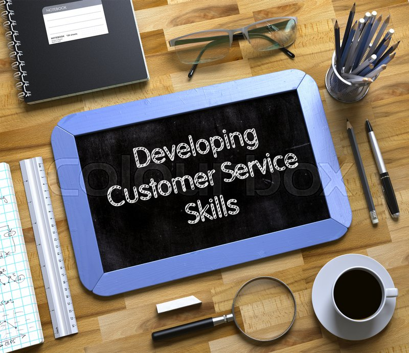 Stock image of 'Small Chalkboard with Developing Customer Service Skills Concept. Small Chalkboard with Developing Customer Service Skills. 3d Rendering.'