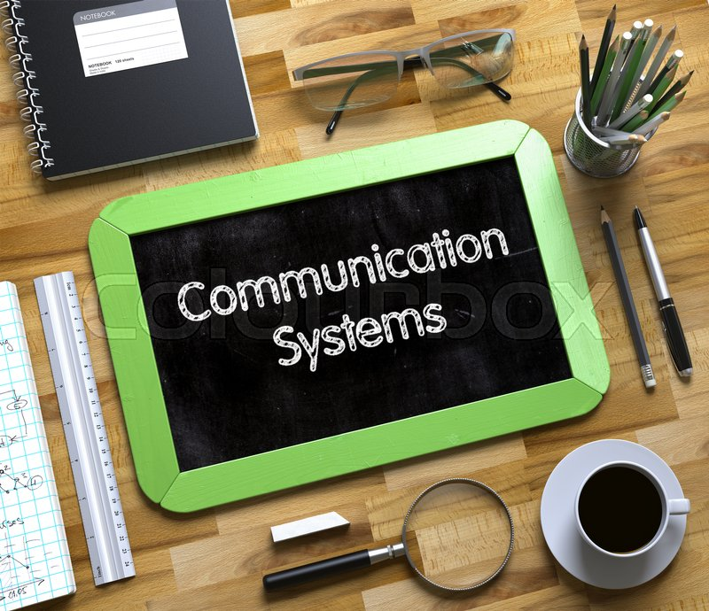 Stock image of 'Communication Systems Handwritten on Small Chalkboard. Communication Systems - Text on Small Chalkboard.3d Rendering.'