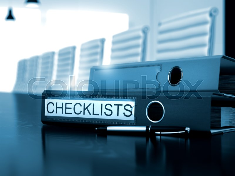 Stock image of 'Office Folder with Inscription Checklists on Working Office Desk. Checklists - Office Folder on Desk. Checklists - Business Illustration. 3D Render.'