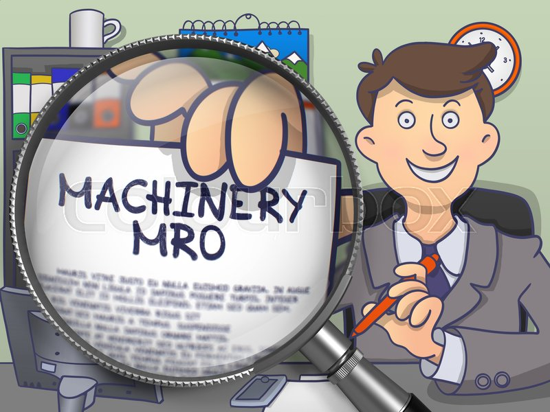 Stock image of 'Officeman Showing a Paper with Text Machinery MRO. Closeup View through Magnifying Glass. Multicolor Doodle Style Illustration.'