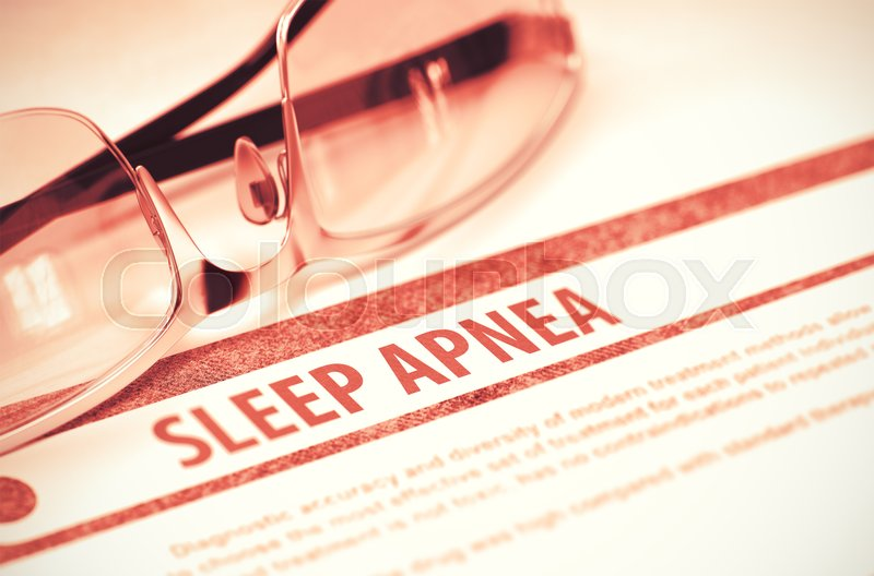 Stock image of 'Sleep Apnea - Medicine Concept on Red Background with Blurred Text and Composition of Glasses. 3D Rendering.'