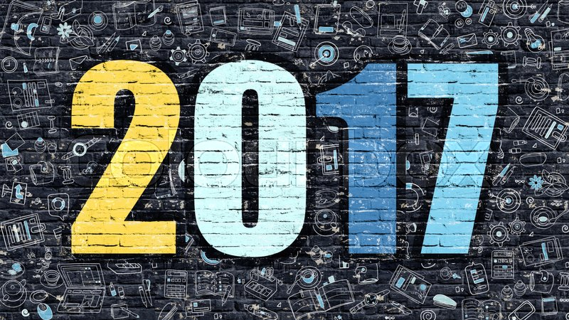 Stock image of '2017 - Multicolor Concept on Dark Brick Wall Background with Doodle Icons Around. Modern Illustration with Elements of Doodle Design Style. 2017 on Dark Wall. 2017 Concept. 2017.'