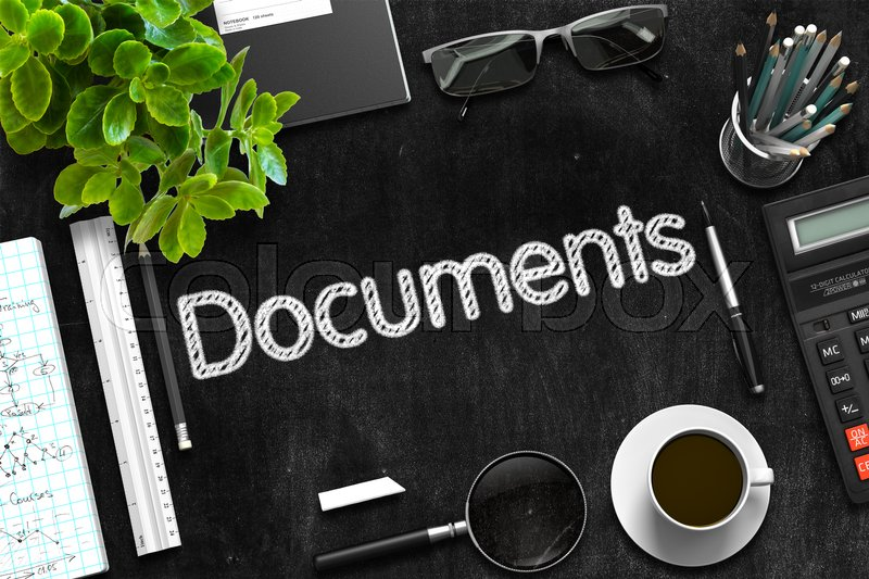 Stock image of 'Documents - Text on Black Chalkboard. Black Chalkboard with Documents. 3d Rendering.'