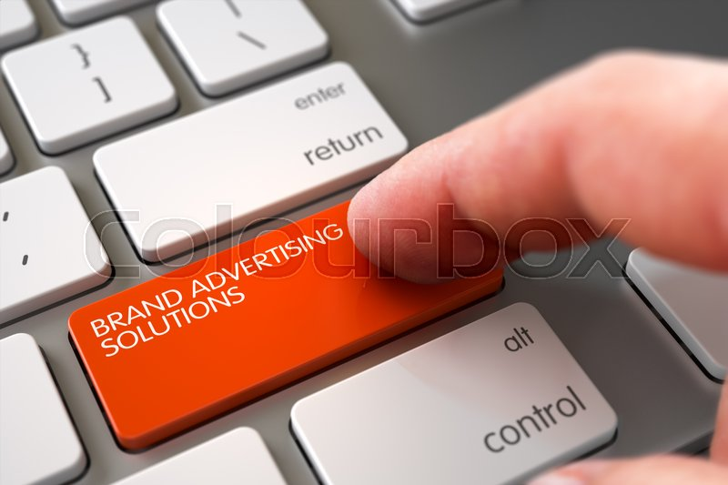 Stock image of 'Finger Pushing Brand Advertising Solutions Orange Button on Laptop Keyboard. 3D Illustration.'