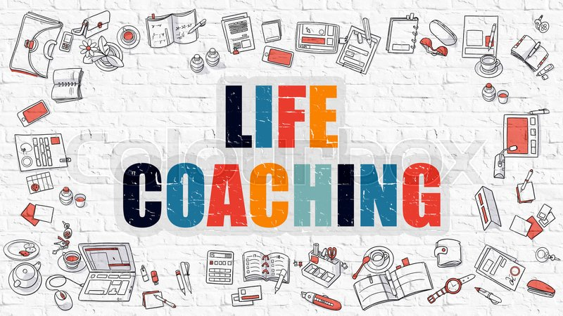 Stock image of 'Life Coaching - Multicolor Concept with Doodle Icons Around on White Brick Wall Background. Modern Illustration with Elements of Doodle Design Style.'