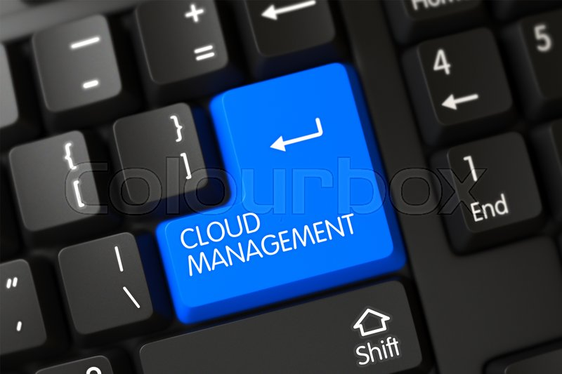Stock image of 'Cloud Management Close Up of Modern Keyboard on a Modern Laptop. 3D Render.'