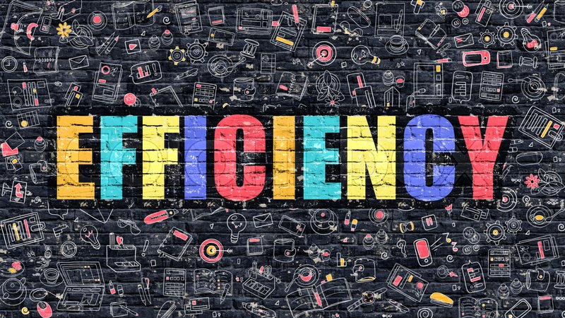 Stock image of 'Efficiency. Multicolor Inscription on Dark Brick Wall with Doodle Icons Around. Efficiency Concept. Modern Style Illustration with Doodle Design Icons. Efficiency on Dark Brickwall Background.'