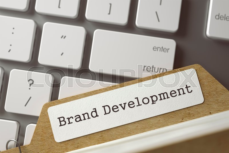 Stock image of 'Brand Development. Archive Bookmarks of Card Index Lays on Modern Metallic Keyboard. Business Concept. Closeup View. Blurred Toned Image. 3D Rendering.'