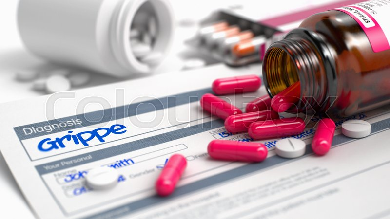 Stock image of 'Grippe Phrase in Anamnesis. CloseUp View of Medical Concept. Handwritten Diagnosis Grippe in the Anamnesis. Medicaments Composition of Blister of Red Pills, Blister of Pills and Bottle of Tablets. 3D.'