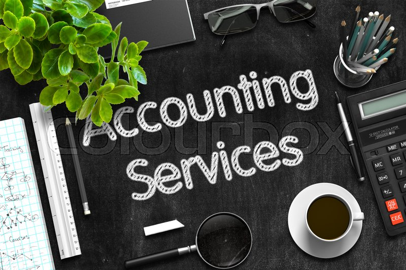 Stock image of 'Accounting Services Handwritten on Black Chalkboard. Top View of Black Office Desk with a Lot of Business and Office Supplies on It. 3d Rendering. '