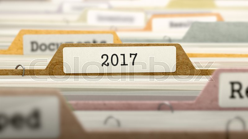 Stock image of '2017 Concept on File Label in Multicolor Card Index. Closeup View. Selective Focus. 3D Render. '