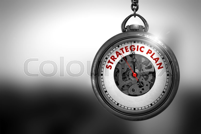 Stock image of 'Strategic Plan on Pocket Watch Face with Close View of Watch Mechanism. Business Concept. Strategic Plan Close Up of Red Text on the Vintage Watch Face. 3D Rendering.'