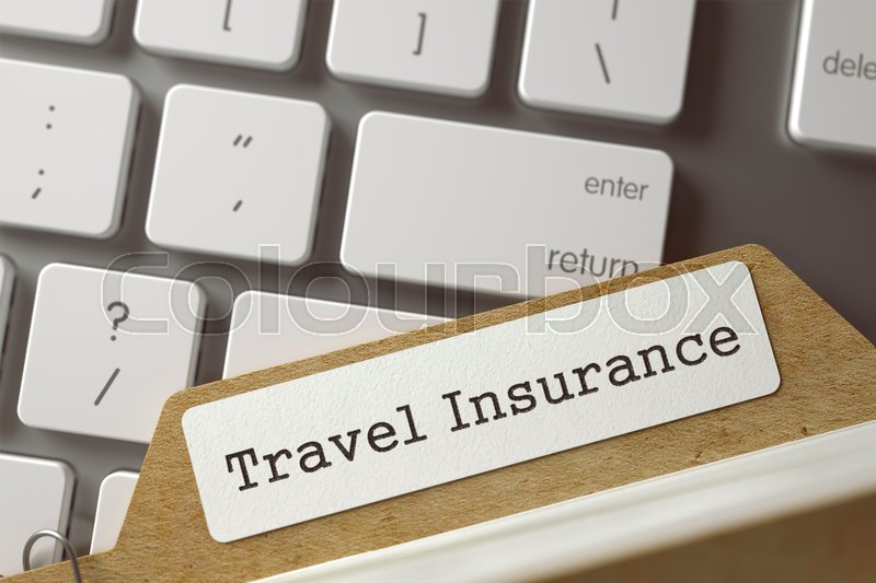 Stock image of 'Travel Insurance written on  Card Index on Background of White PC Keypad. Archive Concept. Closeup View. Blurred Toned Image. 3D Rendering.'