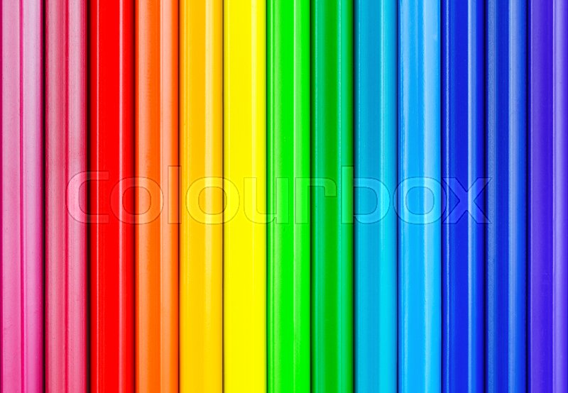 Stock image of 'colorful rainbow background with crayons'