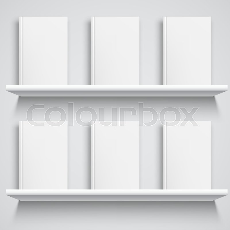 Two White Bookshelves And Books With Empty Blank Covers Object Mock Up Or Template