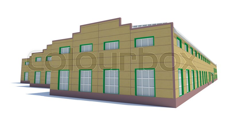 Stock image of 'Hangar building. Isolated on white, 3D Illustration'