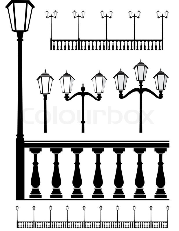 Set Of Street Lantern In Old Style And Balustrade