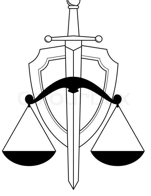 Emblem Of Justice Shield Sword And Scales Symbol Isolated