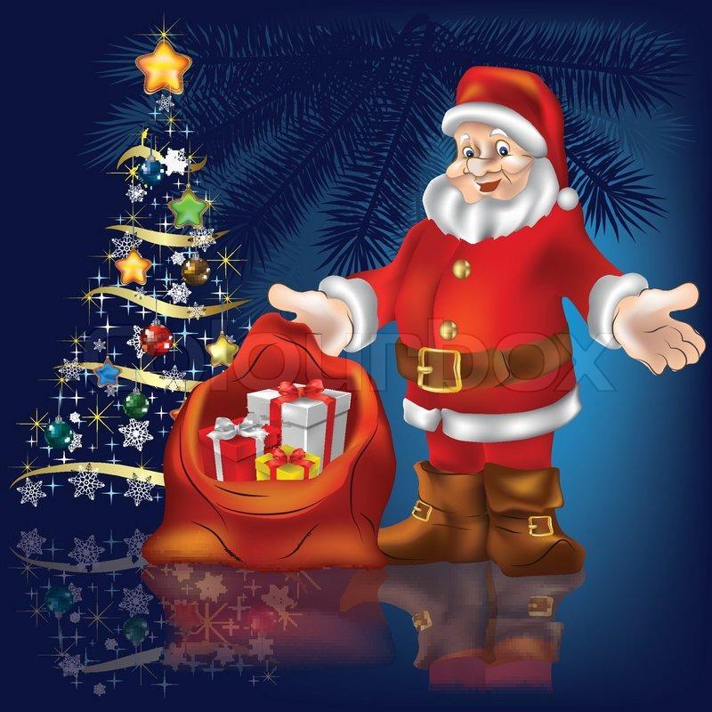 Weihnachtsbaum mit Santa Claus und Geschenke auf blauem Hintergrund ...