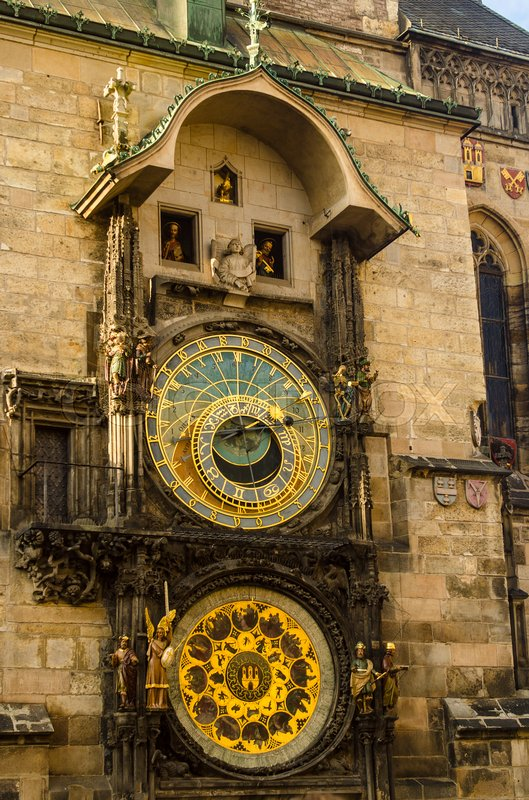 Stock image of 'Close up of Prague ancient famous astronomical clock, called orloj, with zodiac signs in the center of medieval Czech capital'
