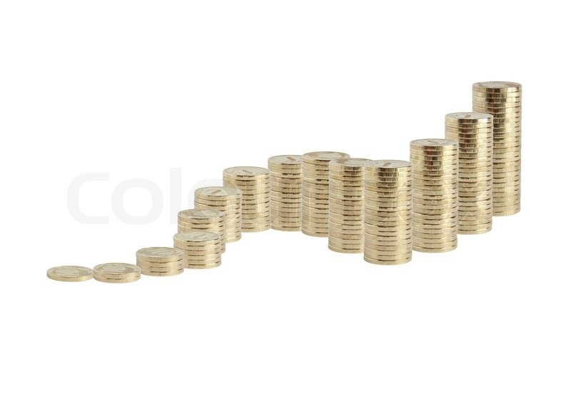 Many Coins Columns From Small To Big Stock Image