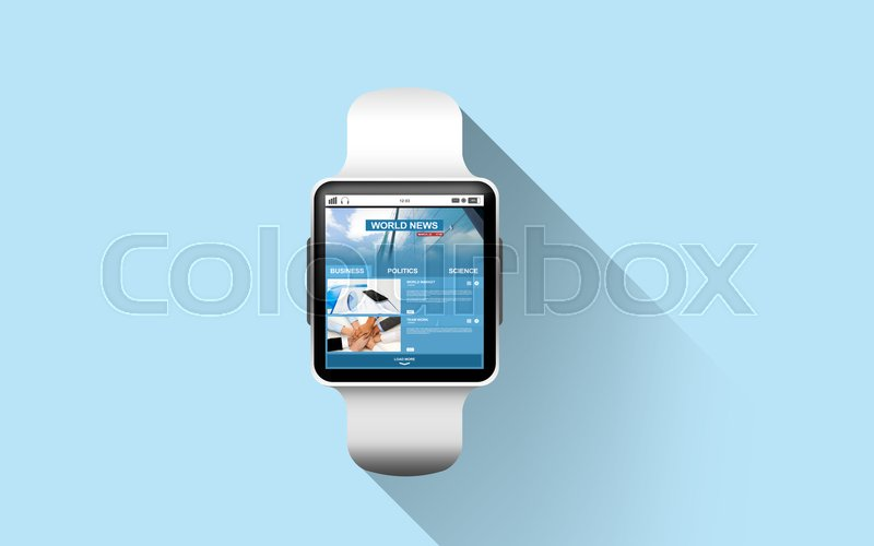 Stock image of 'modern technology, mass media, object and media concept - close up of black smart watch with business news on screen over blue background'