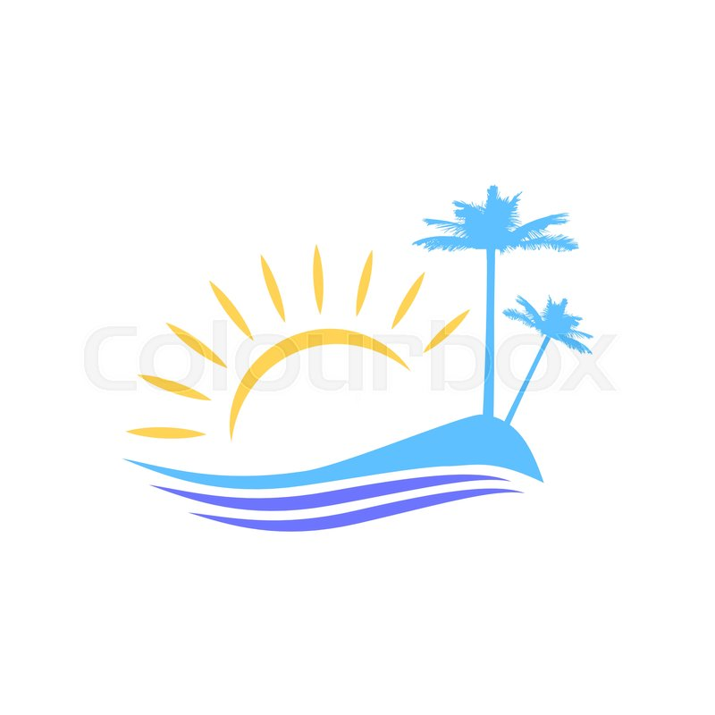Symbolic Vector Image Island With Palm Trees For Tourists And
