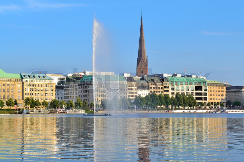 Stock image of 'Hamburg, Germany. A view of a very beautiful lake Alster in a sunny evening '