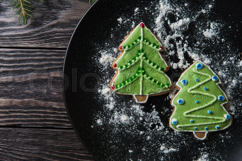 Stock image of 'New year homemade gingerbread on the plate'