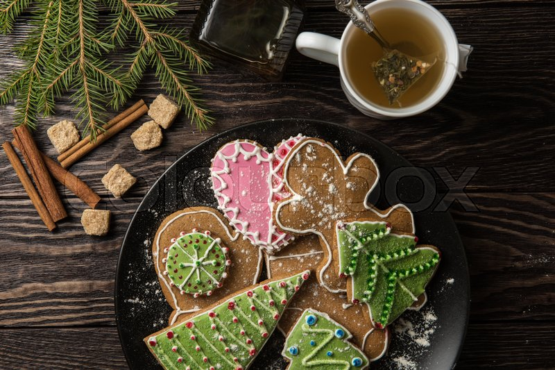 Stock image of 'New year homemade gingerbreads with tea'