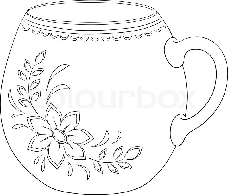 China Cup With A Pattern From A Flower Stock Vector