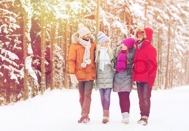 Stock image of 'love, relationship, season, friendship and people concept - group of smiling men and women walking and talking in winter forest'