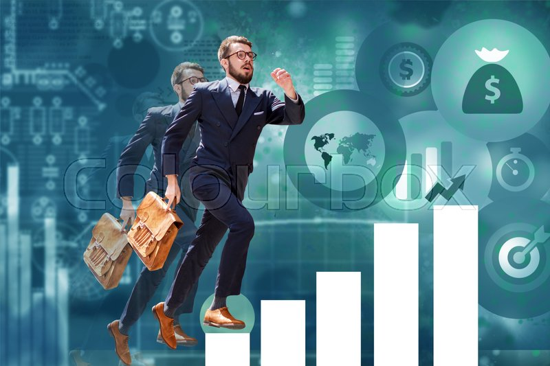 Stock image of 'Image of young businessman jumping over steps of a chart or graph. concept of career success'