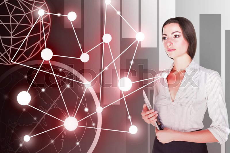 Stock image of 'Young business woman standing with laptop. Global wireless connection concept'