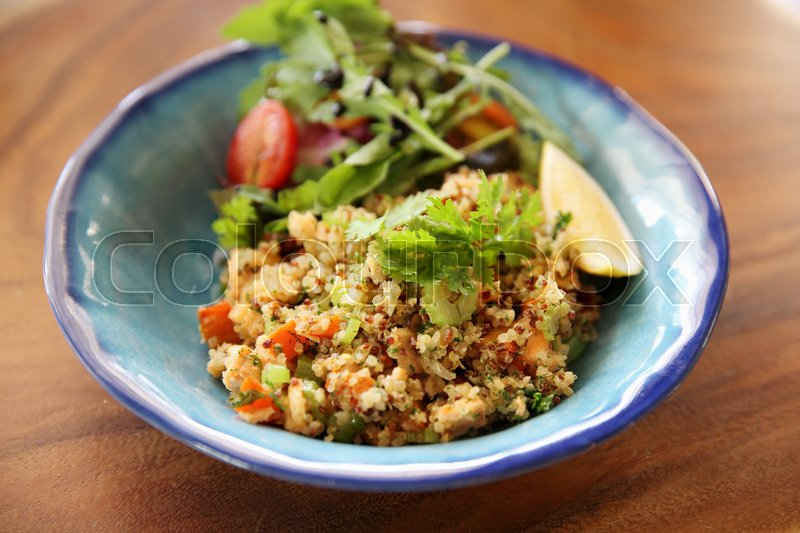 Stock image of ' salad with quinoa and salmon'