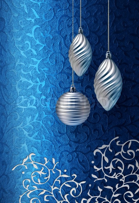 Silver Christmas Decoration On Blue Brocade Fabric