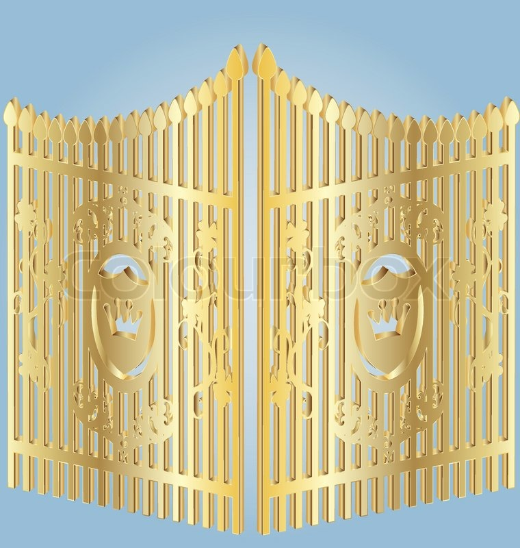 On A Blue Background Gold Wrought Iron Gates Stock