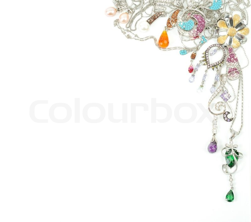 Jewelry From White Gold Isolated On Stock Photo
