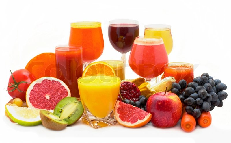 five glasses of fresh juice from different fruit stock photo