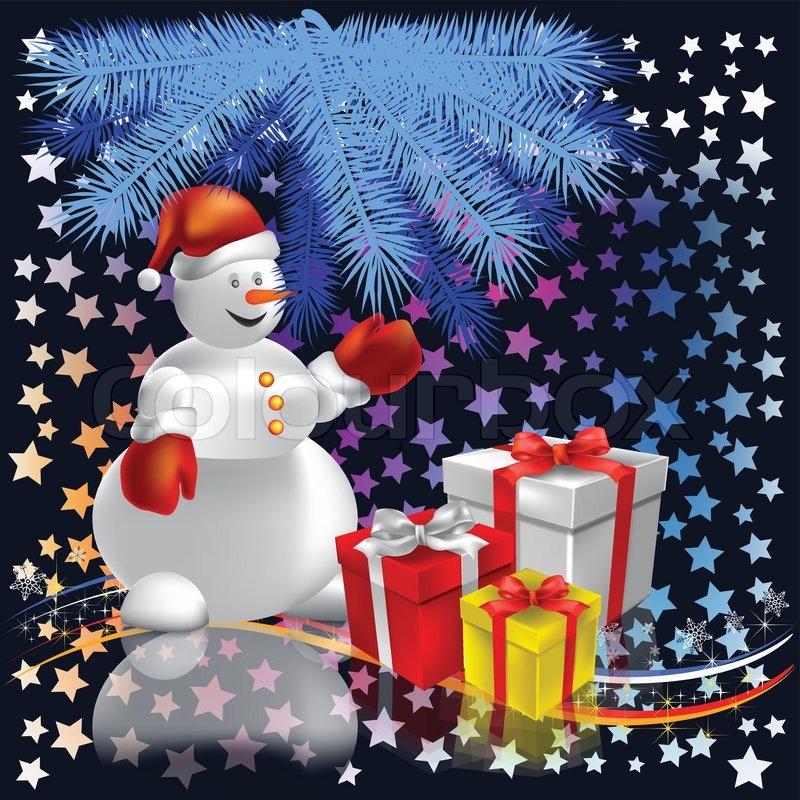 Weihnachtsgeschenke mit Schneemann unter dem Baum auf Sterne ...
