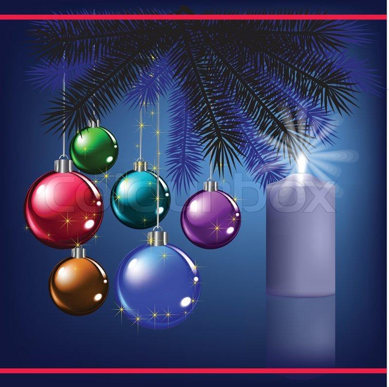 Weihnachten Begrüßung mit Dekoration und blaue Kerze | Vektorgrafik ...