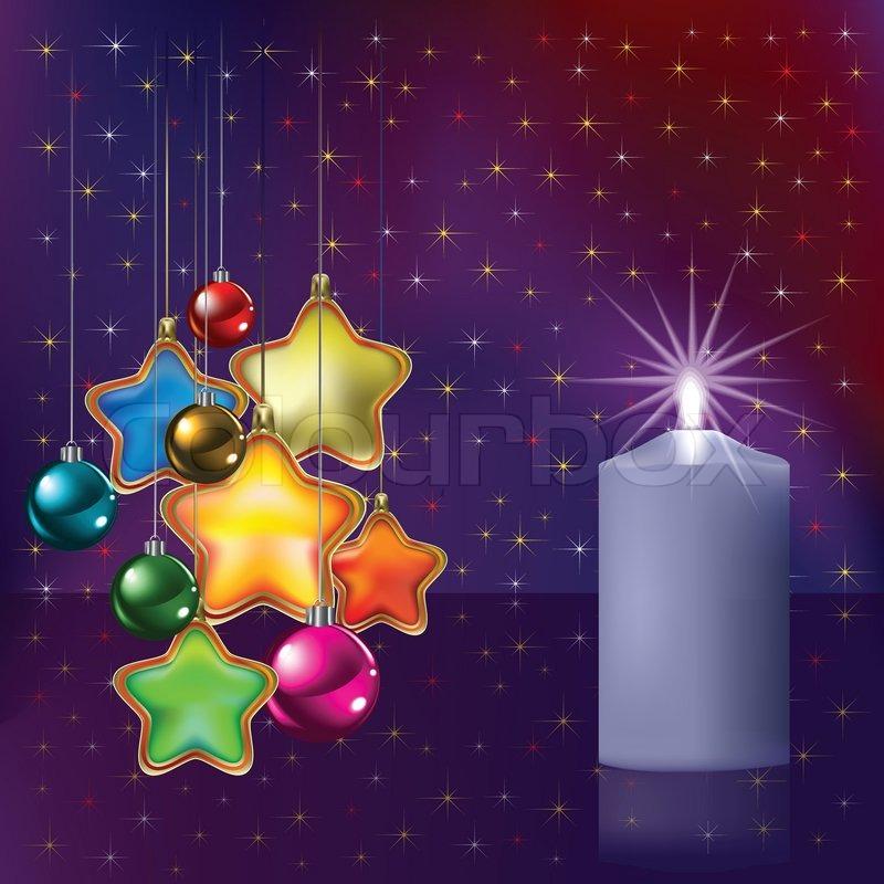 Weihnachten Begrüßung mit Dekoration und Kerze | Vektorgrafik ...