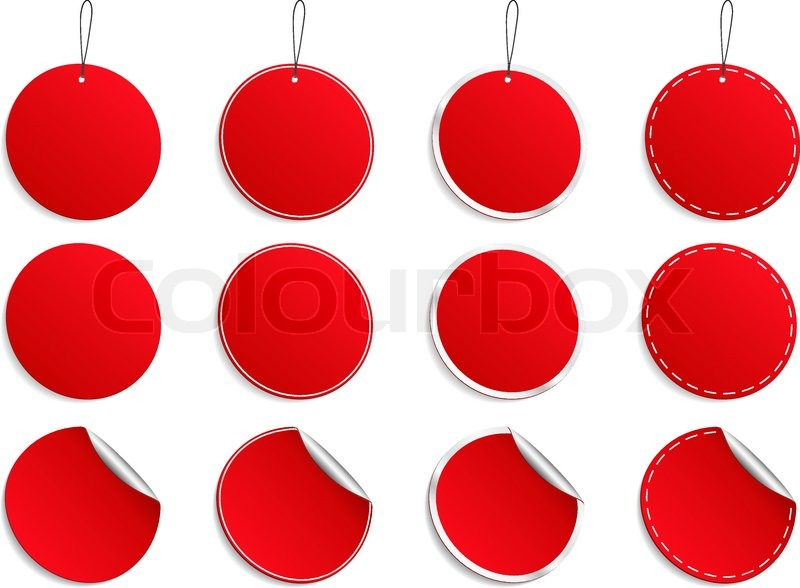 Set of vector red round stickers on white background stock vector colourbox