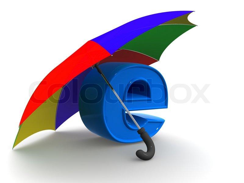 Symbol Of Internet With Umbrella 3d Stock Photo Colourbox