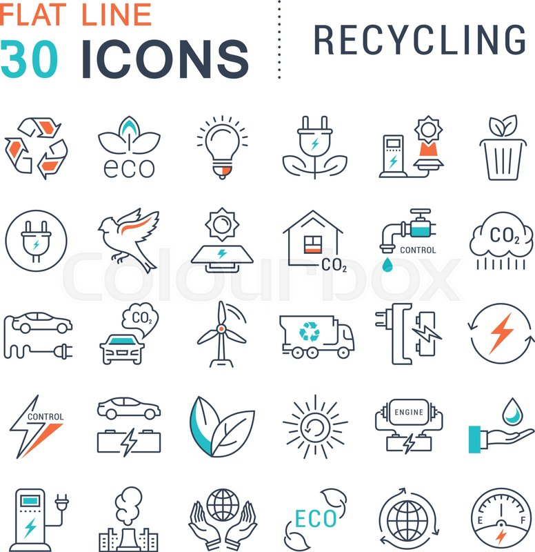 Set vector line icons in flat design recycling eco bio Collect and save