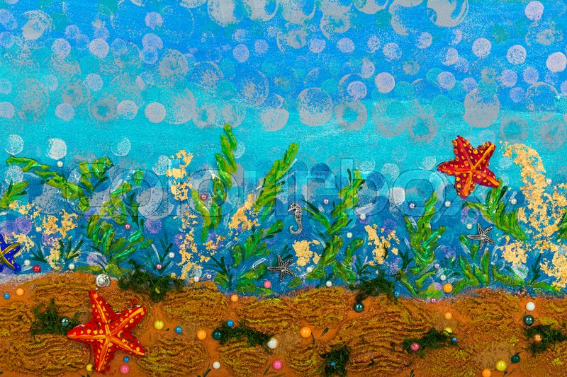 Underwater seascape - abstract drawing ... | Stock Photo ...