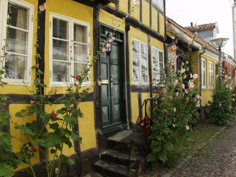 Outside view of old idyllic danish town house stock for Outside view of house