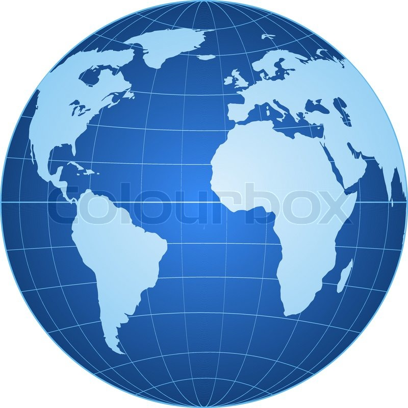 Blue globe isolated on white background | Stock Vector ...